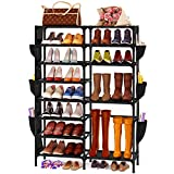 Celaform 8-Tier Shoe Rack Storage Organizer w/ Side Hanging Bags, Non-Woven Shoes Shelf Boot Organizer for Closets, Entryway and Bedroom