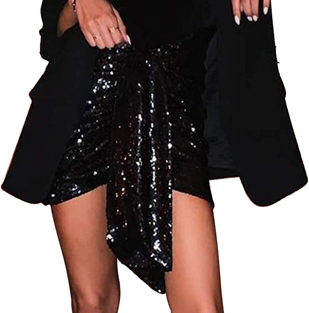 JOSUSY Women's Short Ruched Wrapped Bodycon Sequin Club Pencil Mini Skirt