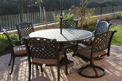 Heritage Outdoor Living Cast Aluminum Nassau 7pc set with 60 round table2- Antique Bronze