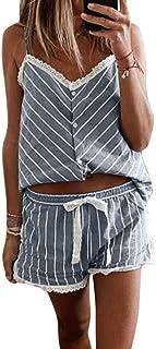 Conjunto de Pijama de 2 Piezas para Mujer Ropa de Dormir de Verano Camisola sin Mangas y Pantalones Cortos