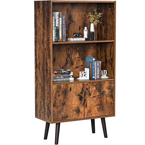 Topfurny Bookcase 2-Tier Bookshelf with Doors Retro Industrial Bookshelf Storage Cabinet for Photos, Books, CD, Decorations, Mid-Century Bookshelf for Bedroom, Living Room, Office, Library