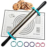 Rolling Pin - Perfect Non-Slip Silicone Baking Pastry Mat - Best Non Stick Stainless Steel Roller...