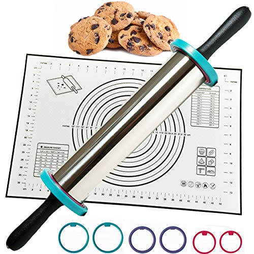Rolling Pin - Perfect Non-Slip Silicone Baking Pastry Mat - Best Non Stick Stainless Steel Roller with Thickness Rings for Dough, Pizza, Pastry, Pie, Pasta and Сhristmas Cookies - Rolling w/Handles