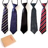 Elesa Miracle Pre-Tied Elastic Neck Strap Tie Little Boys Necktie Value Set of 5 (Set A), One Size