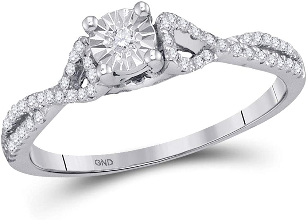 Dazzlingrock Collection 10kt White Gold Womens Round Diamond Solitaire Promise Ring 1/4 Cttw