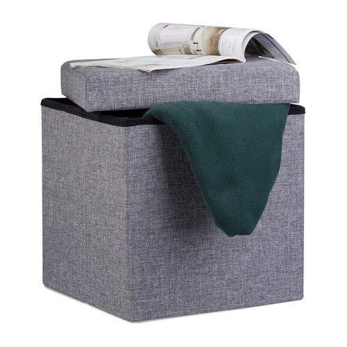 Relaxdays Faltbarer Sitzhocker, Sitzcube als Fußablage, Sitzwürfel aus Leinen, mit Deckel, HBT 38x38x38 cm, dunkelgrau
