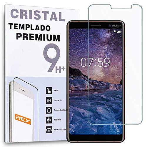 REY Protector de Pantalla para Nokia 7 Plus, Cristal Vidrio Templado Premium
