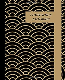 Composition notebook: Black and gold cover classic Wide Ruled Blank Lined Cute Notebooks for Girls, boys Teens Women and men School Home Writing Notes Journal
