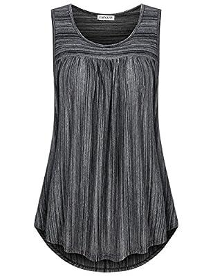 EMVANV Womens Casual Sleeveless Scoop Neck Shirts Pleats Flowy Tunic Tank Tops