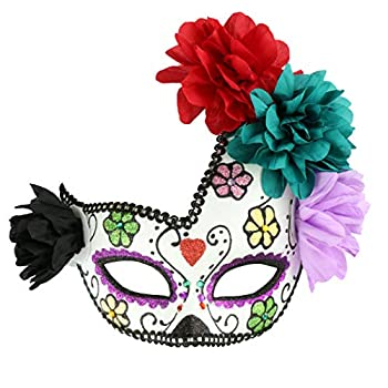 Halloween Horrible Sugar Skull Mask Day of The Dead Mexican Dead Face Mask Mardi Gras Mask Masqurade Party Costume Accessory  Color 3