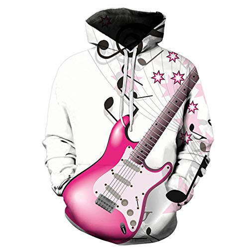 yyqx closed truck Pink Electric Guitar Hooded Sweatshirt Unisex Realistic 3D Fashion Pullover Hoodie Hooded Sweatshirt-Color_S