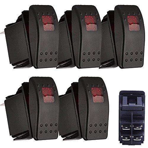 E Support™ 5 X Interrupteur Commutateur ¨¤ Bascule LED Rouge 4 broches pour Voiture Marine Moto hors route