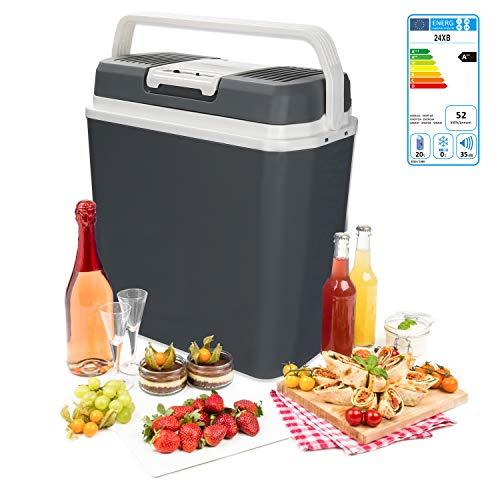 wolketon Kühlbox Thermo-elektrische, 24 Liter, WÄRMT und KÜHLT, tragbare Mini-Kühlschrank mit Tragegriff, ECO-Modus, 12 V und 230 V für Auto, Boot, Camping, Familie