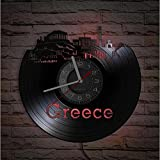 Grecia Atenas Skyline Vinilo Record Reloj de Pared Santorini Art Griego Decoración del Hogar Reloj Europeo de Recuerdos