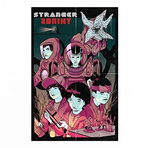Lona Pared Arte Póster de decoración del hogar de Ciencia ficción de la Serie de televisión de Netflix de Stranger Things Art 60x90cm