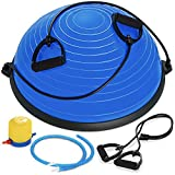Best Choice Products Half Ball Balance Trainer Yoga Exercise Fitness Platform for Stability, Core Workout, Training w/ 2 Resistance Bands, Pump - Blue