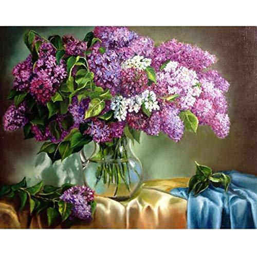 QAZEDC Digitale schilderij handgemaakte speelgoed puzzel Frame Bloemen DIY Schilderij Nummers Hand Geschilderd Canvas Muur Nummers, Wall Art Kleurplaten 60x75