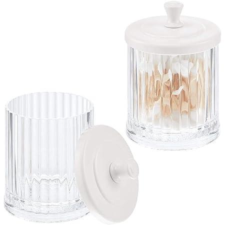 mDesign Pot de Rangement à Maquillage en Plastique (Lot de 2) – Bocal Plastique avec Couvercle pour sel de Bain, Coton, etc. – Rangement Maquillage pour Le lavabo – Transparent et Blanc