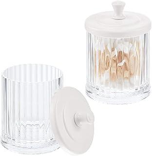 mDesign Pot de Rangement à Maquillage en Plastique (Lot de 2) – Bocal Plastique avec Couvercle pour sel de Bain, Coton, et...