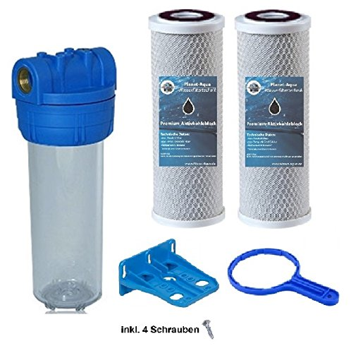 """Planet-Aqua Filtergehäuse Set 10 Zoll 3/4"""" Wasseranschluß 2X AKTIVKOHLE Filter Block 1x SCHLÜSSEL & 1x WANDHALTERUNG Vorfilter Umkehrosmose Brunnenwasser"""