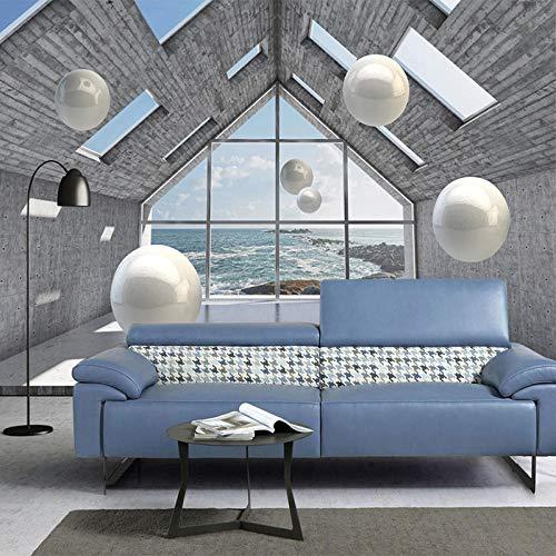 LYBSSG 3D tapete Fototapete 3D Stereoscopic Space Circle Ball Foto Wandtuch Wohnzimmer TV Hintergrund Dekor 3D Wallpaper Wandverkleidung-300x210cm