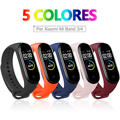 5 PCS Correa Compatible con Pulseras Xiaomi Mi Band 3 / 4, Bangting Correas para Fundas Mi Fit Band 4 My Band 3 Inteligente Funda Miband3 Pulsera Reloj Silicona Banda Reemplazo