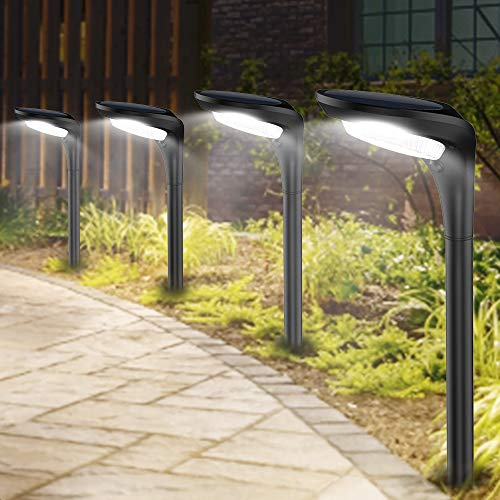 JSOT Solar Garden Lights Outdoor Waterproof Pathway Landscape Light 2 Modes [Cool White & Warm White] Solar Powered LED Spot Lighting Lamp for Ground Walkway Driveway Lawn Decor Decorations,4 Lights