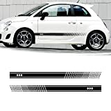 Cobear Adesivi Laterali Strisce Sport Stripes Adesivo Laterale per 500/turbo Abarth Individualità Adesivi Auto Decorazioni Accessori Nero 2 Pezzi