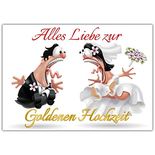 A4 XXL Karte GOLDENE HOCHZEIT BRAUTPAAR mit Umschlag - edle & lustige Klappkarte zum 50 Hochzeitstag - Goldhochzeit Glückwunschkarte von BREITENWERK