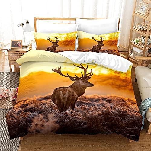 Bedclothes-Blanket Juego de sabanas Cama 150,Impresión Digital 3D Tres Conjuntos de Camas de Alces de pastizales-5_200 * 225