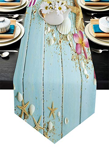 Cotton Linen Table Runner Dresser Scarves Beach Theme Seashells Starfish&Blue Rustic Wood Non-Slip Tableclothes Decor for Farmhouse Kitchen Home Dining ,Wedding,HolidayExtra Long 13 x108 inch,