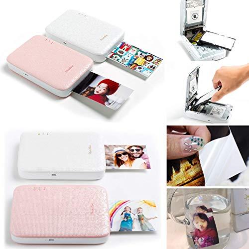 PhotoBee Impresora fotográfica portátil - Rosa (12 hojas de papel fotográfico, 10 marcos de papel y Álbum plegable de 1)