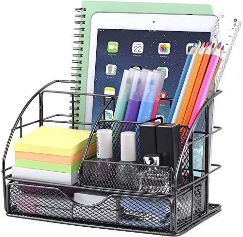 POPRUN Schreibtisch Organizer Metall, Utensilienschalen Netz Tischorganizer mit Stiftablagen/Stifthalter und Schublade für Büro und Schule Schwarz