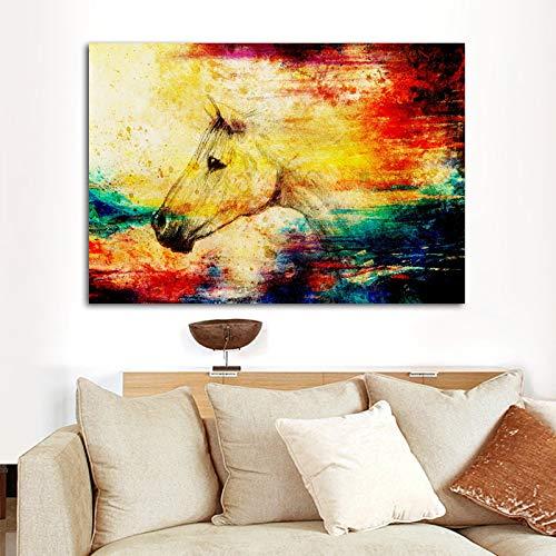 N / A Cuadro de Caballo de Acuarela Animal Poster Lienzo Pintura Abstracta Moderna Imagen de Arte de Pared para decoración de Sala de Estar 60x90 cm Sin Marco