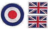 b2see Iron on Patch Aufnäher Aufbügler Applikation Flagge Fahne Wappen Emblem Union Jack England 3 er Set MOD ca 6,2 cm Plus-2 Stück Mini Union Jack a 4 cm