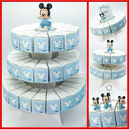 Schön und sparsam Konstruktion: Pappkarton mit Bonfetten Disney Mickey Bianche und Himmlischen Bonboniere für Mädchen 31 Fette (D) Confetti Celesti