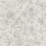 rasch Papel pintado 449440 de la colección Florentine II – Papel pintado no tejido en color gris con estampado floral en estilo vintage – 10,05 m x 53 cm (largo x ancho)