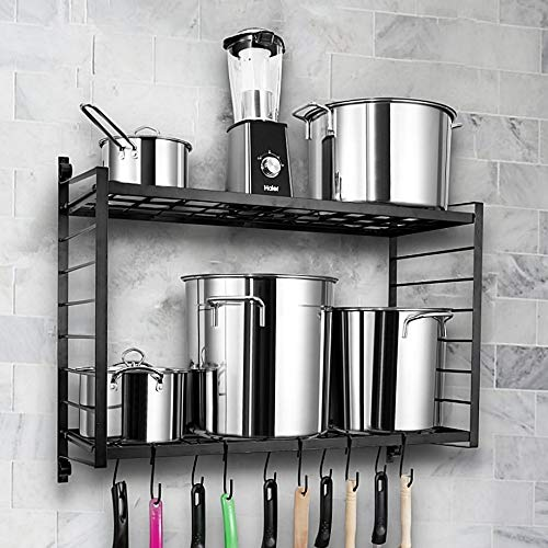 BestVida SparkWorks 2-Tiered Wall Mounted Pot Rack