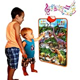 Just Smarty Dinosaur Interactive Learning Poster and Dinosaur Toys for Kids 3-5 with Music, Games and Educational Activities for Toddlers, Boys and Girls Age 2,3,4,5 Includes 4 Realistic Toy Figurines