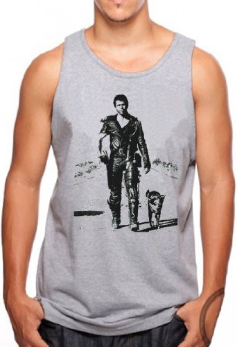 OM3® MAD MAX - Tank Top Road Warrior Action Hollywood Kult Movie USA, 3XL, Grau Meliert