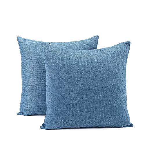 Generic Juego de 2 fundas de cojín de chenilla, estilo rústico, color azul, 45 x 45 cm
