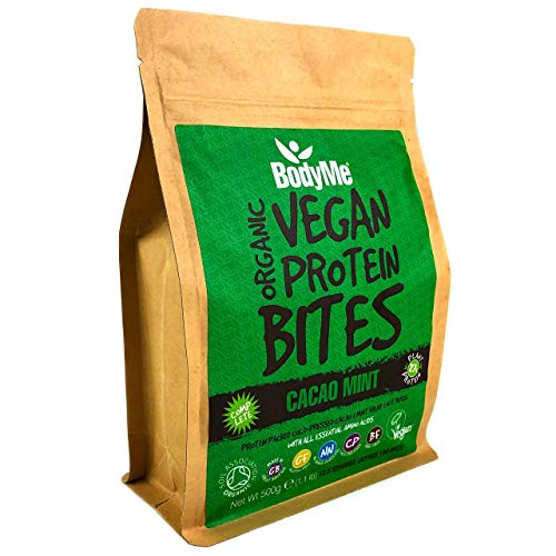 BodyMe Organic Vegan Protein Snacks Bites | Raw Cacao Mint | 100 Protein Snack Bites | 27 Percent Protein | Gluten Free | 3 Plant Proteins | All Essential Amino Acids | High Protein Vegan Snacks