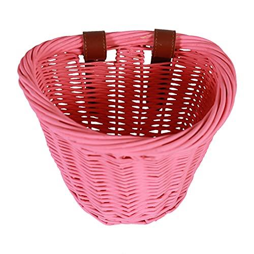 Timoo Kids Bike Basket for Girls, Wicker Bicycle Basket Front Handlebar Basket, Girls Bike Basket Front Basket for Bicycle, Pink Bike Basket with Leather Straps, Kids Bicycle Accessory