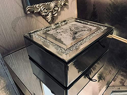 Caja de lujo con espejo de cristal triturado con marco de fotos de cristal caja de regalo Hom