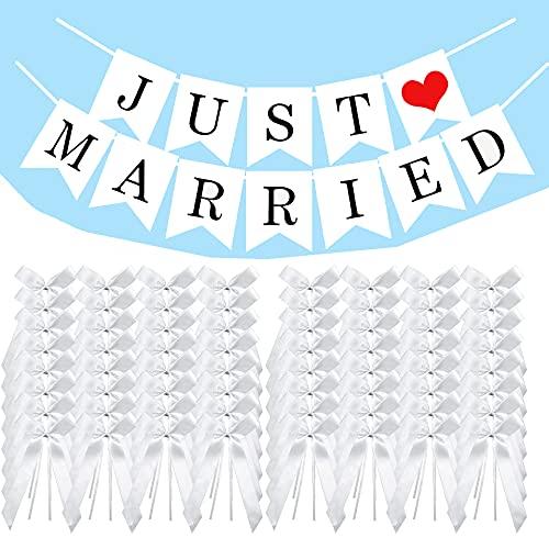 Antennenschleifen,50 Autoschleifen Hochzeit Antennenschleifen, Schleifen Hochzeit Deko, Hochzeit Schleifen,Brautwagen Schleifen,mit Just Married Banner Papier Girlande,für Hochzeit und Auto Dekoration
