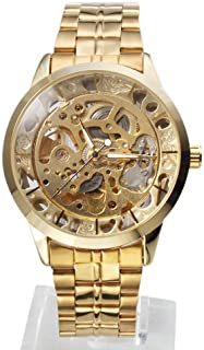 Classic Golden Steel Skeleton Stainless Auto Mechanical Clock Luxury Gold Self-Winding Mens Wrist Watch