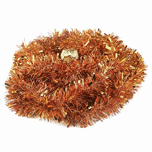 VEYLIN 10 Meters Copper Chunky Christmas Tinsel for Xmas Tree Decorations