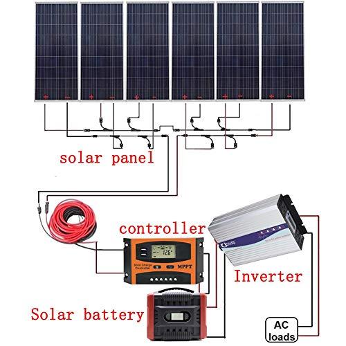 600W 24V Sistema Solar Fuera De La Red: El Panel Solar 6X100W + MPPT Regulador + 1500W Conexión A La Red De Onda Sinusoidal Pura + Batería Solar