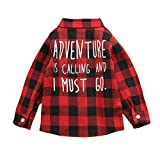 Toddler Baby Boys Girls Long Sleeve Shirt Plaid T-Shirt Tops Spring Winter Coat for Kids Christmas Clothes Outfits (Adventure, 2-3 Years)