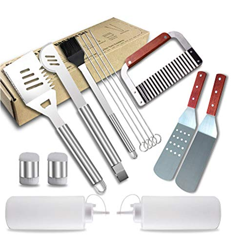 Lowest Price! NBLYW BBQ Grill Tool Set,14 Piece Stainless Steel Barbecue Grilling Accessories,Outdoo...